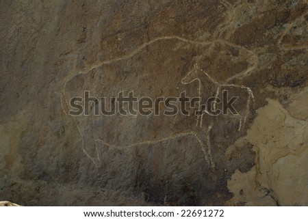 Animal petrographs in Gobustan - stock photo