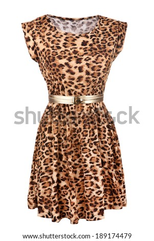 Animal print dress with golden belt isolated on white - stock photo