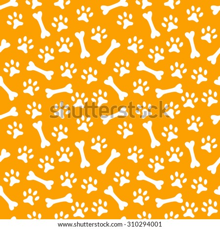 Animal seamless  pattern of paw footprint and bone. Endless texture can be used for printing onto fabric, web page background and paper or invitation. Dog style. White and orange colors. - stock photo