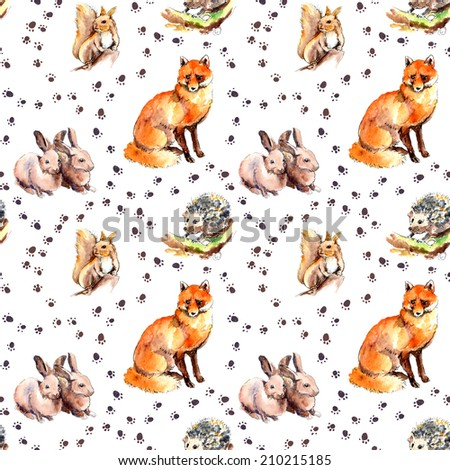 Animal seamless pattern with spoor and footprint. Wild animals: squirrel, rabbits, hedgehog and fox. Watercolor - stock photo