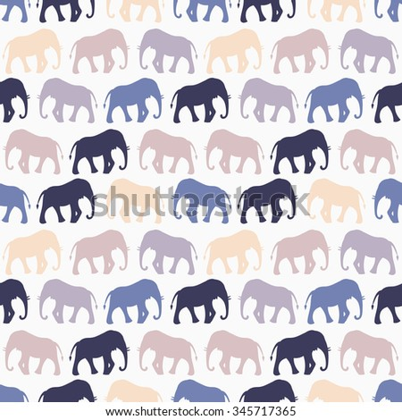 Animal seamless retro pattern of elephant silhouettes. Endless texture can be used for printing onto fabric, web page background and paper or invitation. Blue, white and beige colors. - stock photo