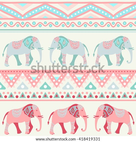 Animal seamless retro pattern of elephant silhouettes. Endless texture can be used for printing onto fabric. With doodle stripes. White, blue, red and yellow colors. - stock photo