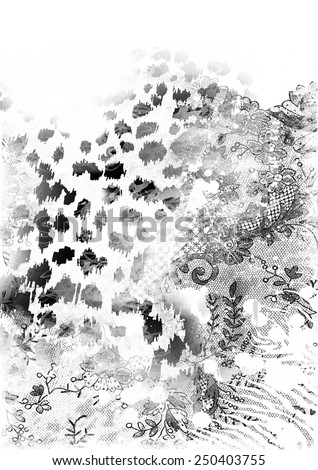 Animal skin mixed with lace,mixed textures. - stock photo