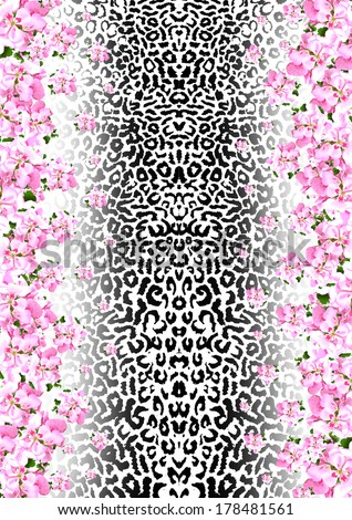Animal skin with flowers - stock photo