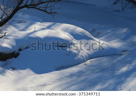 Animal track lines in the fresh snow of a frozen creek