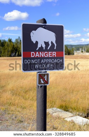 Animal  / wildlife warning sign in Yellowstone National Park  - stock photo