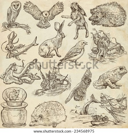 Animals around the world (set no.9) - Collection of an hand drawn illustrations. Description: Full sized hand drawn illustrations drawing on old paper. - stock photo