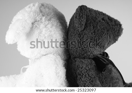 animals at odds with backs to one another - stock photo