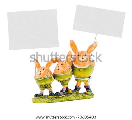 Animals holding blank white cards - stock photo