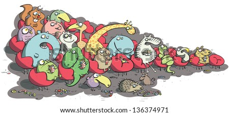 Animals in Cinema Eating Sweets. (for vector see image 97516787) - stock photo
