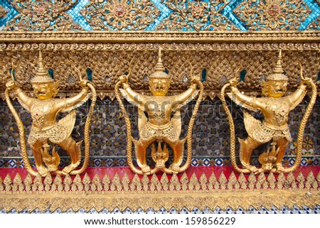 Animals in Thailand stucco literature. With walls of Wat Phra Kaew. The art of Thailand.