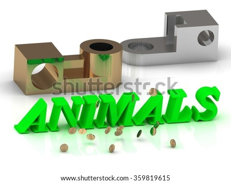 ANIMALS  - inscription of color letters and golden details on white background - stock photo