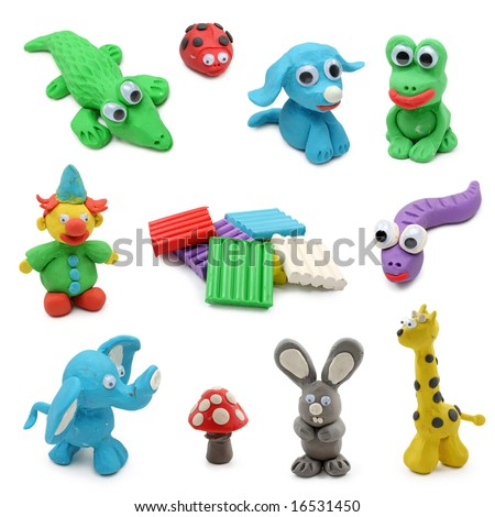 animals made from child's play clay isolated on white background - stock photo