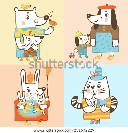 Animals. Moms with their children. Cat with a kitten; dog with a puppy; bunny with bunny land bear with cub - stock photo
