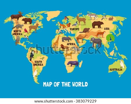 Kids world map stock images royalty free images vectors animals world map gumiabroncs Gallery