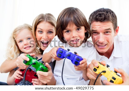 Animated family playing video game against a white background - stock photo