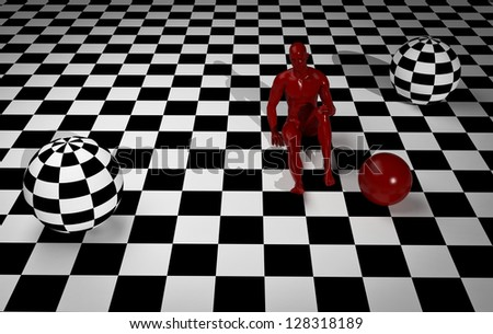 Animated in 3d checkered composition with red man end red balls