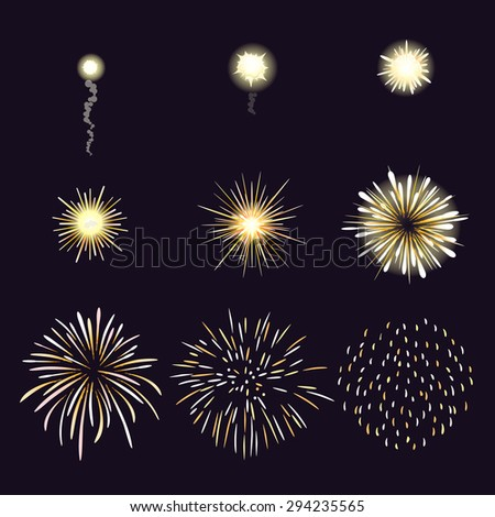 Animation of firework effect in cartoon comic style. Festival and event, celebrate and party - stock photo