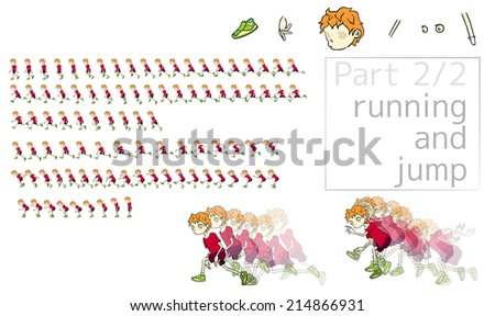 animation of running and jumping man. - stock photo
