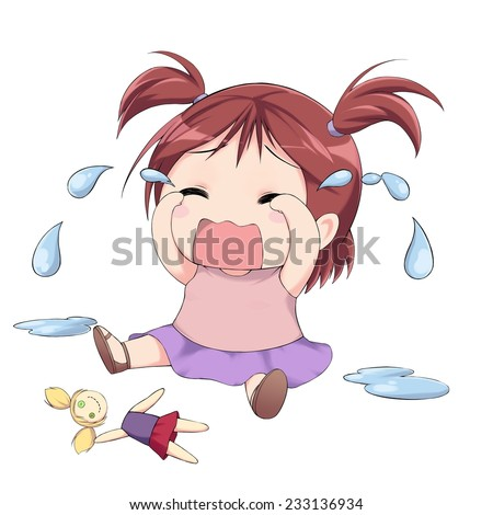 Anime Little Girl Crying Before Broken Stock Illustration ... Baby Girl Crying Animation