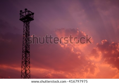 anime sunset pastel  sky and watch tower