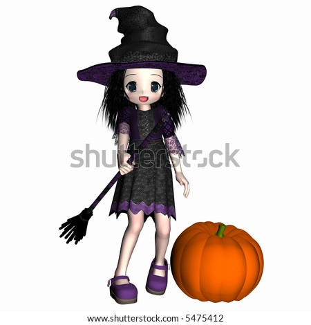 Anime witch with black hair holding her broomstick standing next to a pumpkin. Isolated on a white background