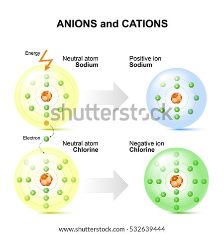 Anions Cations Example Sodium Chlorine Atoms Stock Illustration ...