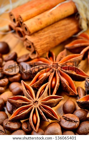 anise, cinnamon and coffe beans - stock photo