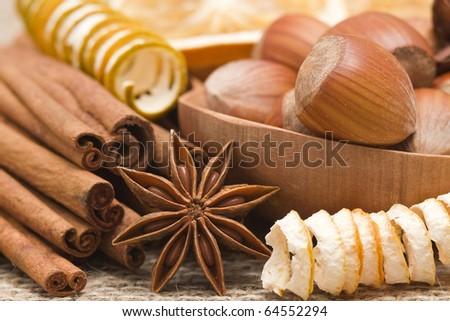 anise, cinnamon, hazelnuts - stock photo