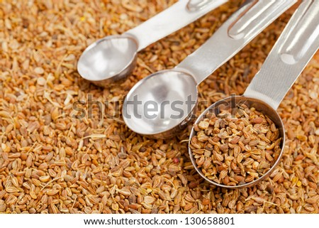 Anise seed in metal scoop on aniseed background