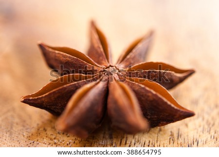 anise star on a wood background closeup - stock photo