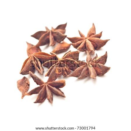 Anise stars on white background - stock photo