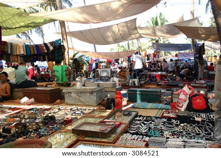 Anjuna Hippy Flea Market - stock photo