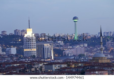 Ankara, Capital city of Turkey, at dusk - stock photo