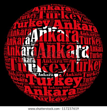 Ankara capital city of Turkey info-text graphics and arrangement concept on black background (word cloud) - stock photo