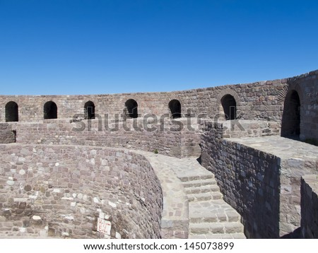 Ankara Castle Wall is a fortification from ancient or medieval era in Ankara, Turkey. - stock photo