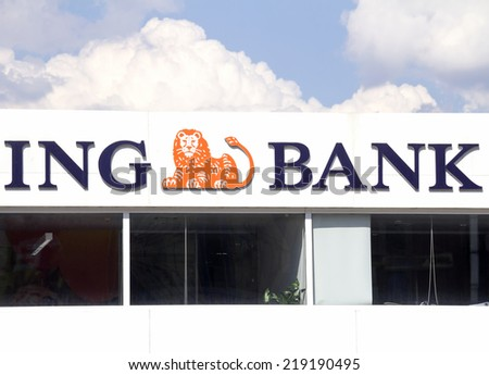Ankara - JUN 21: ING Bank branch on JUNE 21, 2014 in Ankara, Turkey.The bank is owned by ING Group, largest financial group worldwide (by revenue).