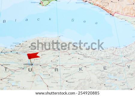 Ankara pinned on a map of europe  - stock photo