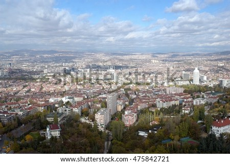 Ankara, Turkey - Aerial view of the City in a cloudy day
