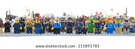 Ankara, Turkey - April 05, 2013 : Different type of Lego Minifigures isolated on white background.   - stock photo