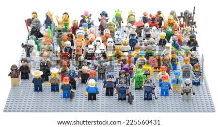 Ankara, Turkey - April 05, 2013 : Different type of Lego Minifigures isolated on white background.  - stock photo