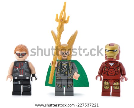 Ankara, Turkey - April 23, 2013: Iron Man, Loki and Hawkeye, minifigures of Lego Super Heroes isolated on white background.  - stock photo