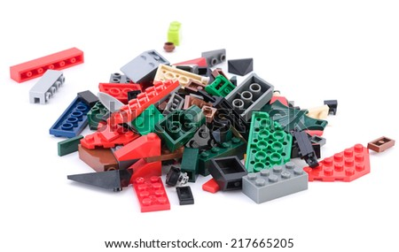 Ankara, Turkey - April 04, 2012: Lego blocks isolated on white background. - stock photo
