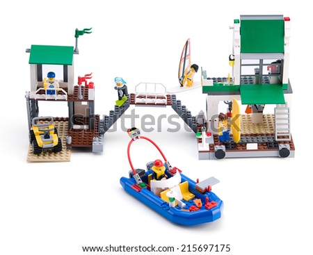 Ankara, Turkey - April 05, 2012: Lego City Marina isolated on white background  - stock photo
