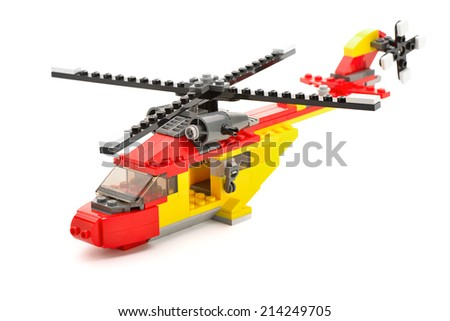 Ankara, Turkey - April 09, 2013: Lego Creator Rotor Rescue helicopter isolated on white background.              - stock photo