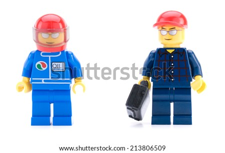 Ankara, Turkey - April 04, 2012 : Lego mechanic and car racer minifigures isolated on white background - stock photo
