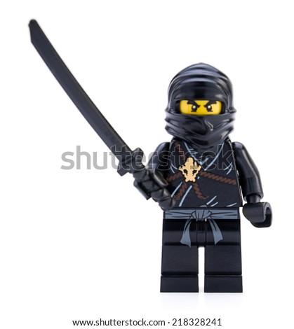 Ankara, Turkey - April 04, 2012 : Lego Ninja minifigure isolated on white background.   - stock photo