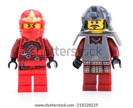 Ankara, Turkey - April 04, 2012 : Lego Samurai Warriaor minifigure isolated on white background.   - stock photo