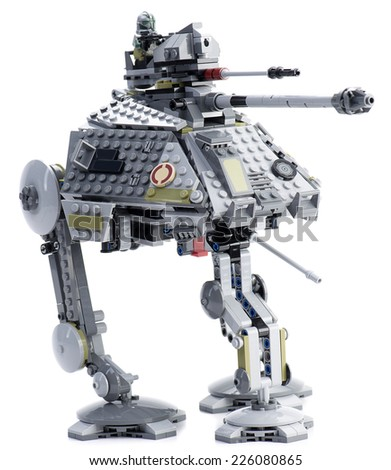 Ankara, Turkey - April 28, 2014: Lego Star Wars AT-AP with an elevating blaster cannon, spring loaded shooter and extending third leg isolated on white background. - stock photo