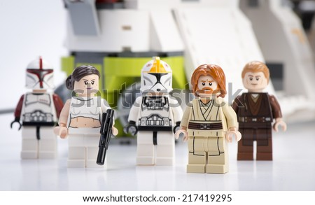 Ankara, Turkey - April 24, 2014: Lego Star Wars Republic Gunship minifigures Obi-Wan Kenobi, Anakin Skywalker, Padma Amidala, Clone Trooper Captain, Clone Trooper - stock photo